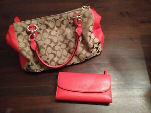 Red Leather Coach Bag and Wallet