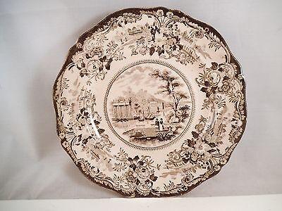 Antique Stone China Grecian Scenery Black Brown Transfer Plate Staffordshire