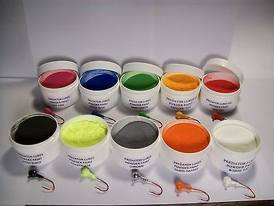 -   JIG HEAD FISHING LURE 1 oz POWDER PAINT IN 1 OZ WIDE MOUTH JARS.