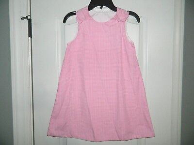 Girl's Pink & White Check Dress Great for Embroidery Size 6 by Rosalina (White Dress For Girl Size 6)
