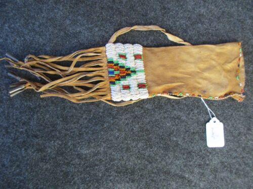OLD BEADED PIPE BAG, NATIVE AMERICAN  BEADED LEATHER CHANUPA BAG,   DAY-02305