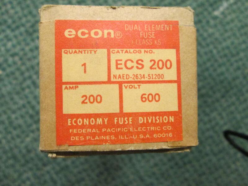 Econ Fuse ECS 200 200A 600V New Surplus