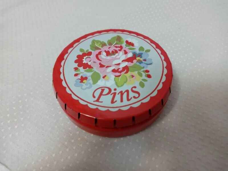Cath Kidston Sewing Pins Tin*Push Top Open*Pretty Red Floral Design*