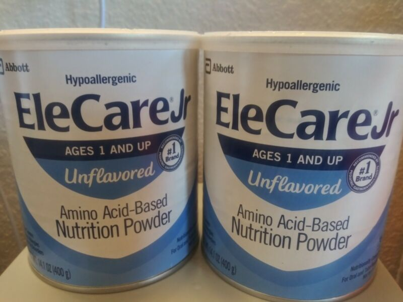2 Abbott EleCare Jr Toddler Unflavored Hypoallergenic Formula Cans Exp 2/22 +