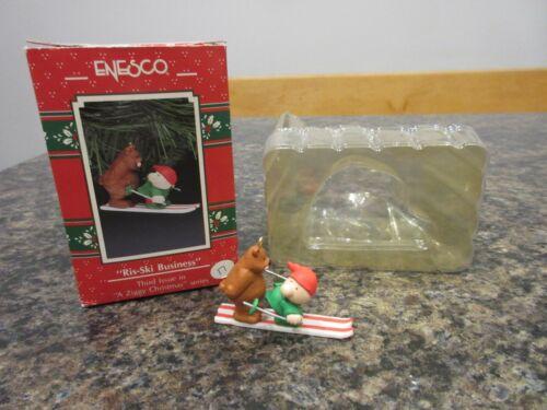 Enesco Ziggy Ris-Ski Business Skiing Bear Christmas Ornament Box 3rd Series Vtg