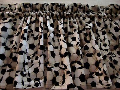 Valance Black and White Soccer Balls Curtain Window Treatment  Custom Made ()