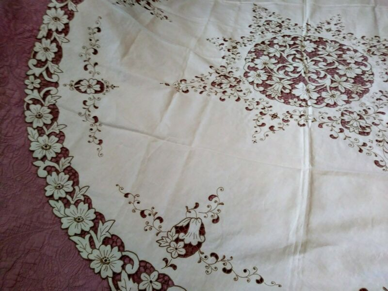 Elaborate Large Madeira Round Floral Cutwork & Embroidered  Linen Tablecloth 70""