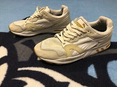 Men Puma Trinomic XT 2 Trainers White Gold Mesh Lace Up 358138 02 Sz 11 EU 44.5