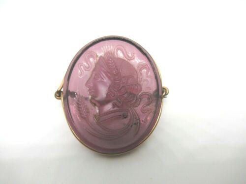 Antique Victorian Amethyst Glass Purple Cameo Brooch Pin