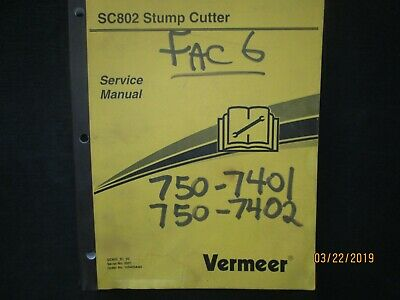 Vermeer Sc802 Stump Cutter Service Repair Workshop Manual Factory Original Oem
