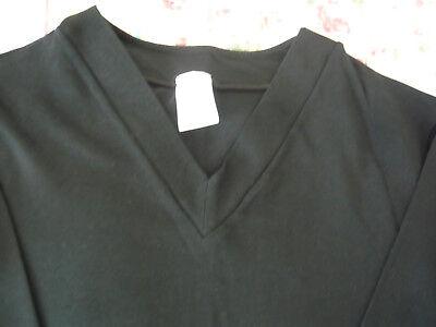 Hanro Black V-Neck Long Sleeve Stretch Top - Size XS