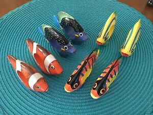 Set of 8 Tropical Fish Hand-Painted Napkin Rings