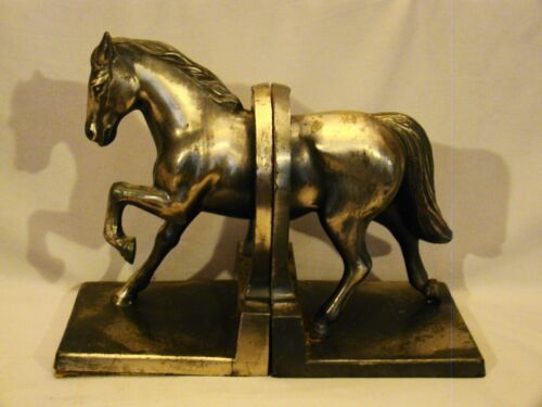 Pair of Silver Patinated Metal Horse & Horseshoe Figurine Figure Bookends