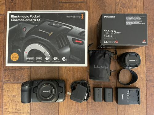 Blackmagic Pocket Cinema Camera 4k W/ Panasonic LumixG Lens Batteries - $1,699.00