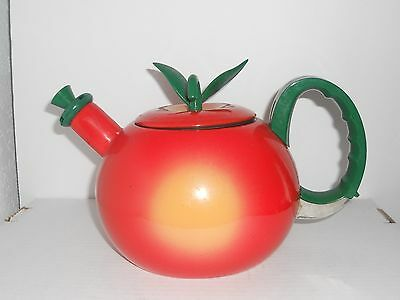Tea Kettle Red Apple Shaped Metal Tea Kettle Lid Teapot Repurpose Up Cycle