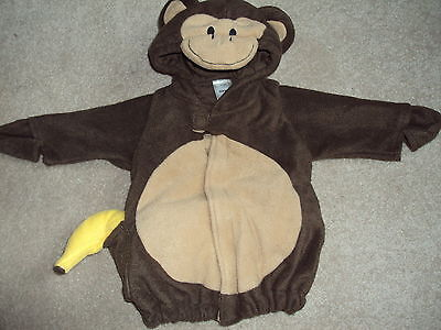 Halloween Costume Monkey Plush Jacket Size 0-6 Months Banana and Tail! No Pants