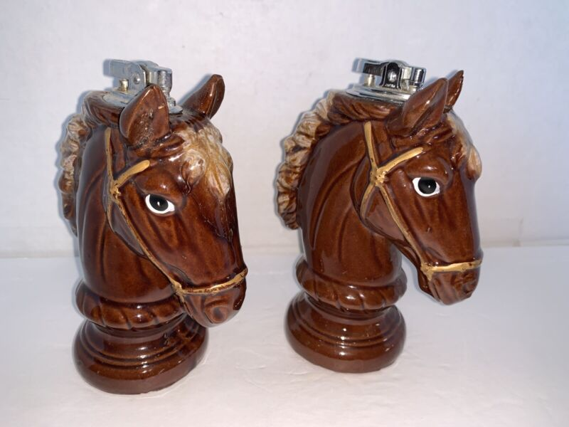 "Vintage Pair Of Porcelain Horse Head Table lighters 5 1/2"""