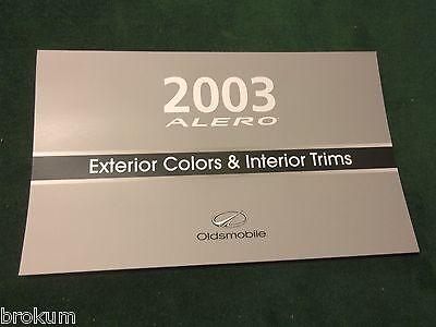 MINT NEW 2003 OLDSMOBILE OLDS ALERO EXTERIOR COLOR SELECTOR BROCHURE (BOX 561)