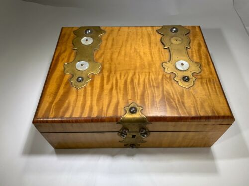 Antique Victorian English Light Mahogany Brass  & Mother of Pearl Jewelry Box