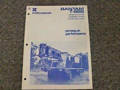 Koehring Bantam T-888 Crane Specifications Lifting Capacities Manual