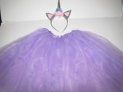New Halloween tutu unicorn horn skirt headband costume women teen JR 16 yrs (Costume Horn)
