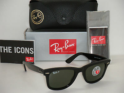 Authentic Ray Ban Original Wayfarer Black / green Polarized RB 2140 901/58 50mm