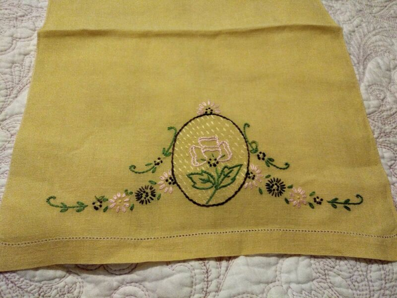 """Beautiful Floral Embroiderd Yellow Linen Hand Towel 20"""" x 13"""""""