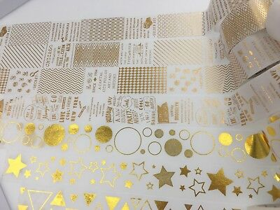 Gold Glitter Tape (Gold Foiled Crackle Patchwork Glitter Metalic Wide Washi Tape Star Round)