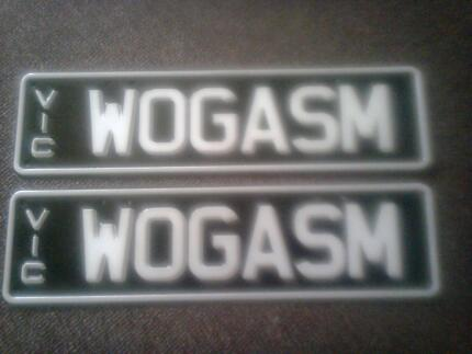 """Personalized Number Plates """"WOGASM"""""""