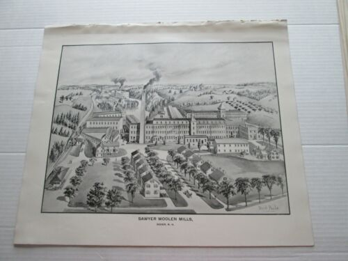 1892 NEW HAMPSHIRE ANTIQUE MAP, SAWYER WOOLEN MILLS, DOVER N. H.