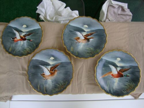 4 Antique Limoges Game Bird Plates artist signed Alfred Broussillon B&H France