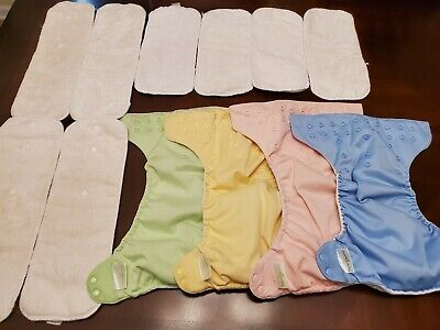 Lot Of 4 Bumgenius Cloth Diapers with 8 Inserts (4 Large and 4 Small)