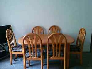 Wooden dining table with 6 cushion chairs - 100$ negotiable Homebush Strathfield Area Preview