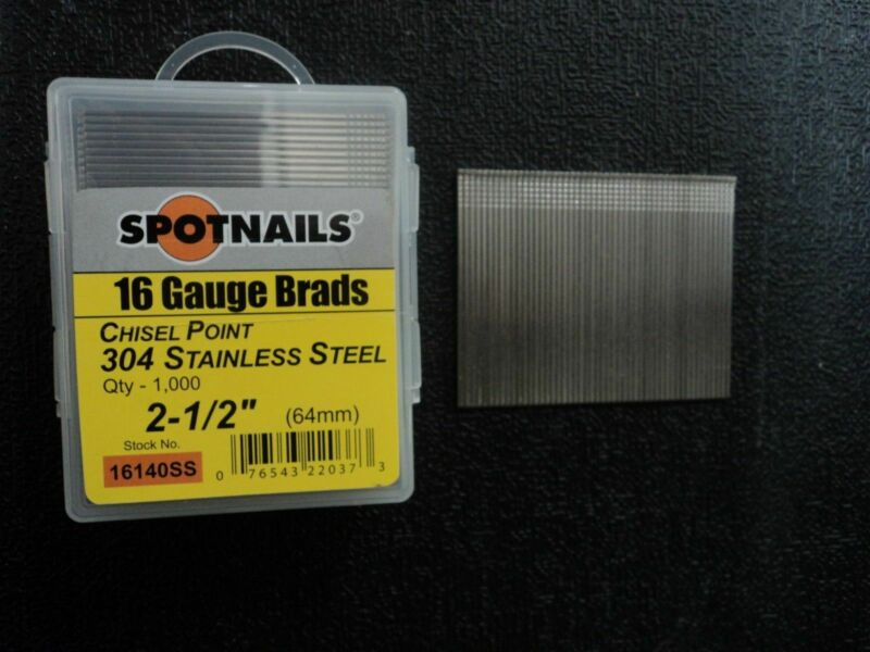"Spotnails 16140SS 16 Gauge 2 1/2"" Stainless Steel Finish Nails (8,000)"