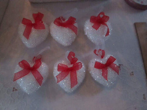 "Box of 6 pc. 2.75 ""Flocked White Heart Ornaments w/ Red Bows, New"