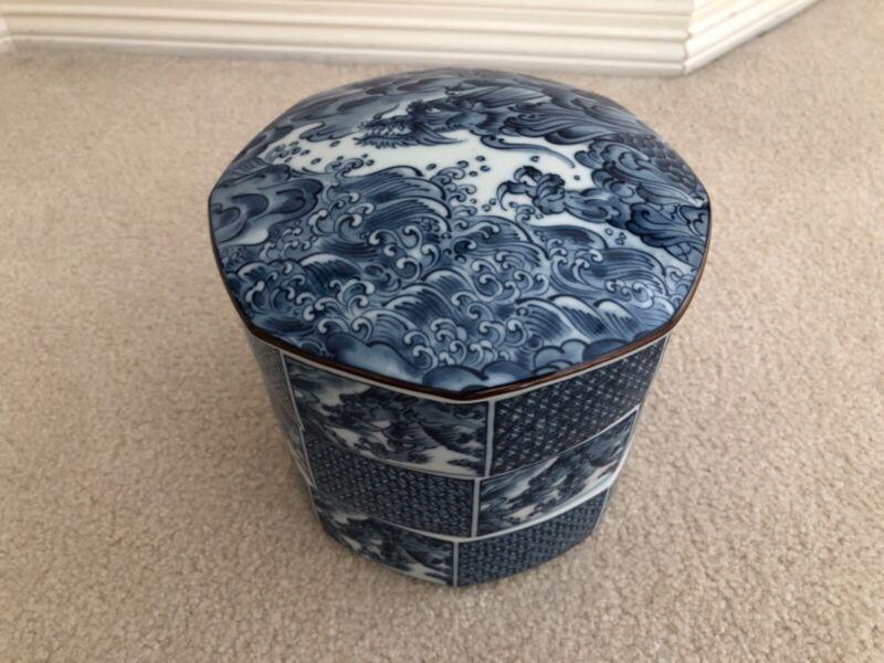Japanese blue & white porcelain Dragon Bento Box