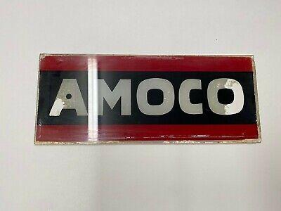 Vintage Rare 1940s Red & Black Amoco Original Gas Pump Glass Advertising Panel