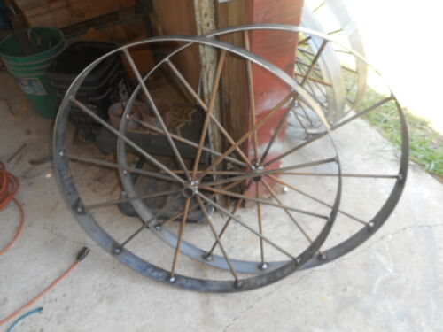 "2) 30""  steel ornamental Iron Garden Wagon Wheel western rustic art"