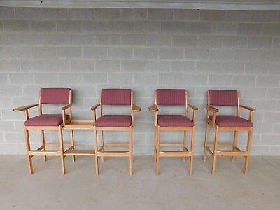 Whitaker Furniture Solid Oak Billiard High Stools - Set of 4