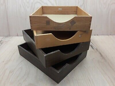 Lot 4 Vintage Wood Desk Organizer Letter Tray Dovetail Wood Office In Out Box 4b