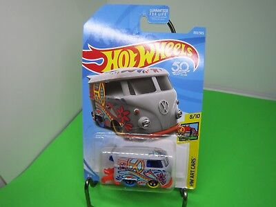 KOOL KOMBI #353❀gray/orange VW bus; PEACE❀ART CARS❀2018  Hot Wheels WW case Q