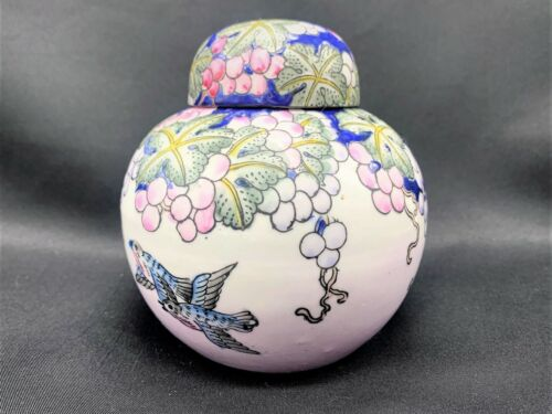 Vintage Toyo Chinese Hand Painted Ginger Jar, Grapes and Blue Birds