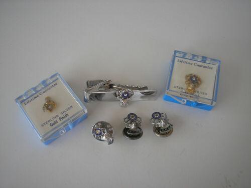 Vintage Sterling Silver Elks B.P.O.E. Tie Tacks, Bar, Hat Pin (6pc) 10.06 grams