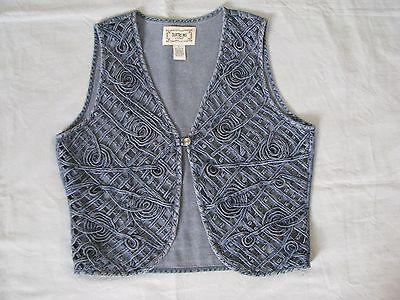 Blue Woven Vest - Tantrums Size L Blue Denim Woven Vest Open Lattice w Spirals Front 100% Cotton V