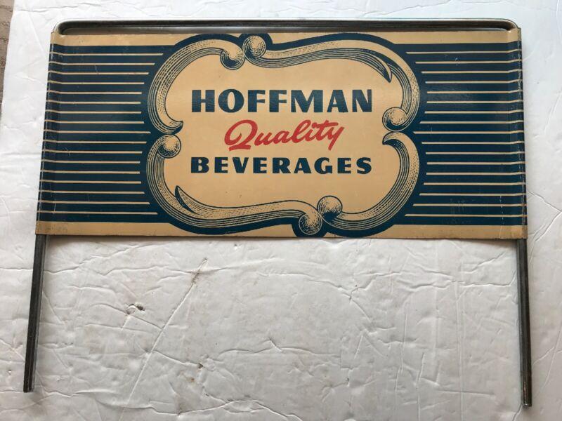 HOFFMAN BEVERAGES VINTAGE METAL DOUBLE SIDED RACK SIGN
