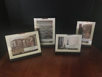 SixTrees Picture Photo Frames Glass w/ Wood Base 4x6 + 5x7 Vertical (Horizontal Vertical Wood)