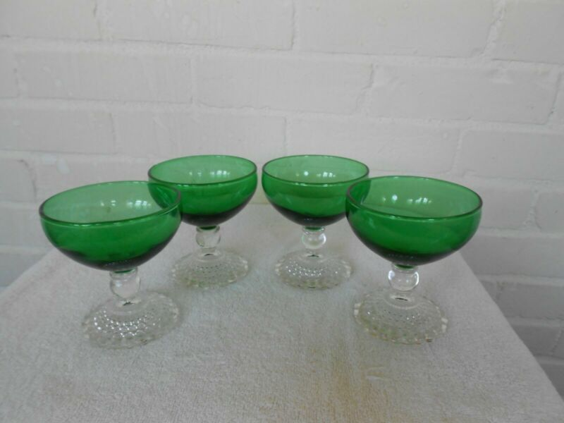 4 Pc Green Depression Glass Sherbet Cups with Clear Base.  Anchor Hocking