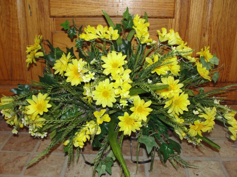 Yellow Daisies Cemetery Grave Tombstone Saddles Silk Memorial Headstone Flowers