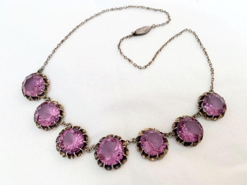 Vintage Antique Art Deco Alexandrite Crystal Paste Sterling Open Back Necklace
