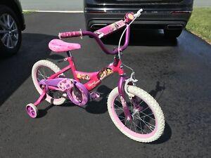 Girls princess bike with training wheels